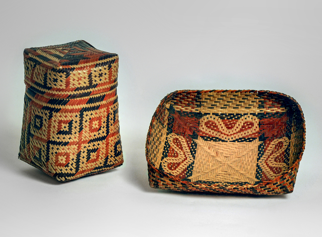 Basket with lid  late 19th–early 20th century and Fanner  basket late 19th–early 20th century