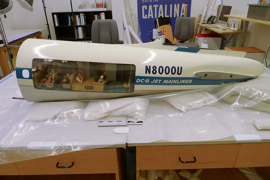 Conserving a Cutaway Model: United Air Lines Douglas DC-8. Tail Section, Before Treatment