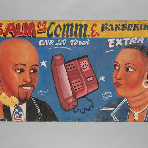 """Psalm 27 Comm. & Barbering Salon"" sign c. 2000"