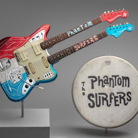 The Phantom Surfers' Fender Jazzmaster/Jaguar and Weather King bass drumhead