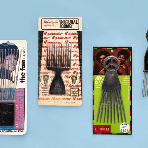 The Fan afro hair pick and Black Power salute hair pick; Natural comb and Afro comb