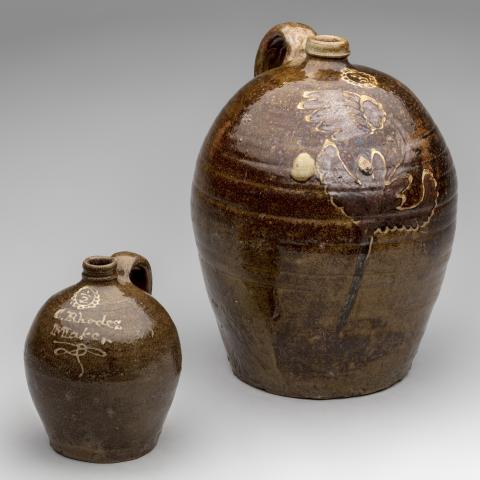 Half-gallon and three gallon jugs c. 1850; Collin Rhodes Factory