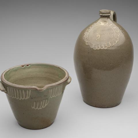 Cream riser and two-gallon jug  c. 1850; Thomas Chandler (1810–54)