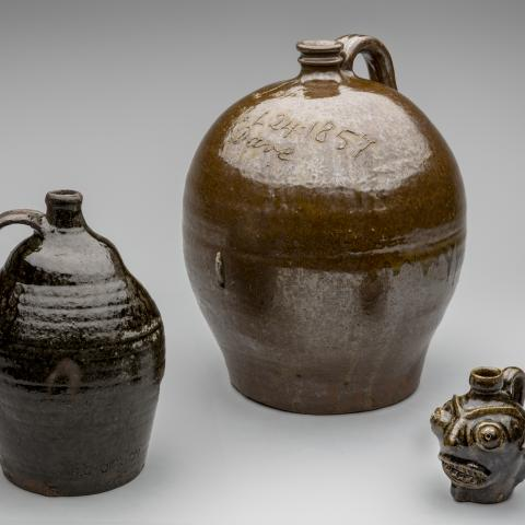 Jugs; [left to right] c. 1880s; 1857; c. 1862