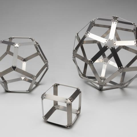 Dodecahedron, Hexahedron, and Rhombic Triacontahedron sculptures  c. 2019