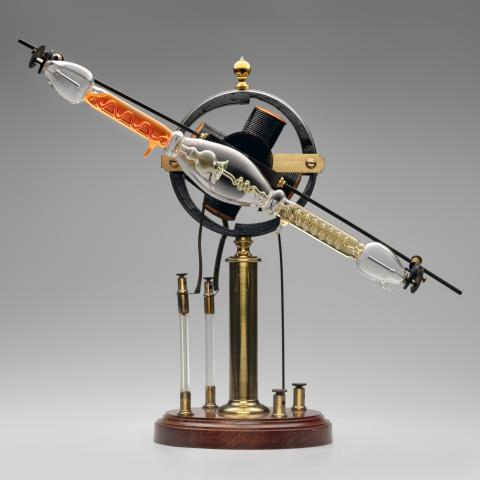 Geissler tube rotator [with modern tube]  late 19th century