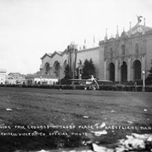 Lincoln Beachey taking off from the North Gardens in his monoplane at the Panama-Pacific International Exposition, San Francisco March 14, 1915