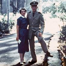 Minerva Milk with her son Harvey in his Service Dress Khaki uniform 1954
