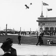 Art Smith performing a dive in his biplane at the Panama-Pacific International Exposition, San Francisco  1915