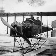 Alco Hydro-Aeroplane Model G with Allan Loughead (at right) and passenger,  San Francisco Bay  1915