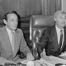Supervisor Harvey Milk and Mayor George Moscone at City Hall March 29, 1978