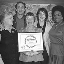 Del Martin and Phyllis Lyon receive a Certificate of Honor from supervisors Harvey Milk, Carol Ruth Silver, and Ella Hill Hutch  January 1978