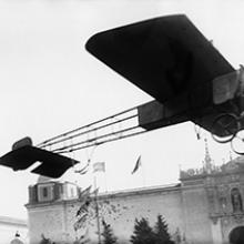 Charles Niles taking off from the North Gardens in his monoplane at the Panama-Pacific International Exposition, San Francisco  1915