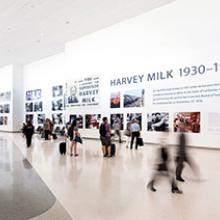 Temporary exhibition of Harvey Milk: Messenger of Hope on the construction wall of Harvey Milk Terminal 1, San Francisco International Airport  July 24, 2019