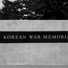 Reflection of Golden Gate and Marin Headlands in Korean War Memorial  2017
