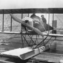 Loughead (Alco) Model G on the launching ramp, San Francisco  1915