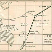 Pan American Airways Pacific route system map  1936