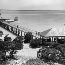 Martin M-130 at passenger dock, Wake Island c. 1937