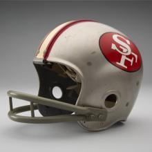 Helmet worn by San Francisco 49ers defensive tackle Leo Nomellini during 1962 National Football League season