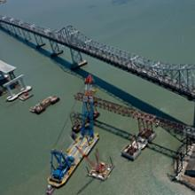 Lifter installs falsework east of Yerba Buena Island