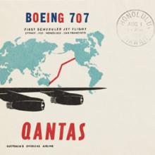 Qantas Airways first Boeing 707 flight airmail flight cover