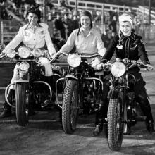 Jackie Varney, Rene King, and Edi Lynn; Winners of the Girls' Slow Race c. 1946