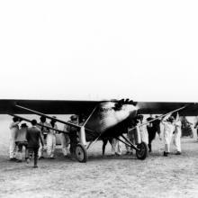 Charles Lindbergh and his Ryan NYP Spirit of St. Louis at Mills Field September 16, 1927