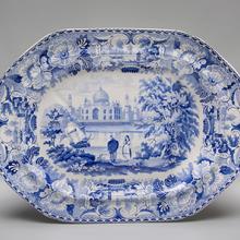 Platter, Tomb of the Emperor Shah Jehan (Taj Mahal) pattern  c. 1824–30s