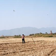 A farmer watching aircraft flying in the sky 2015