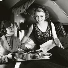 United Air Lines Douglas DC-3 DST (Douglas Sleeper Transport) breakfast service  late 1930s