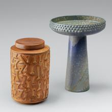 Lidded jar and Pedestal bowl; Laura Andreson