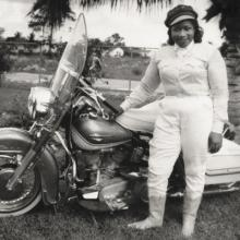 "Bessie Stringfield, ""The Motorcycle Queen of Miami,"" and her Harley-Davidson ""Panhead"""
