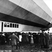 Passengers wait to board the Schwaben's twenty-passenger gondola 1911