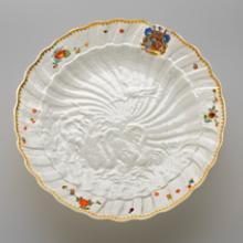 Dish from the Swan Service with arms of Brühl and Kolowrat-Krakowska