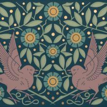 Herter sparrow frieze 2021 Bradbury & Bradbury Art Wallpapers