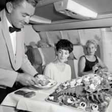 "Qantas Airways first class ""Blue Ribbon Service"" aboard Boeing 707s"