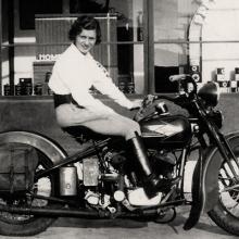 Florence Emde on her 1937 Harley-Davidson VL 1937