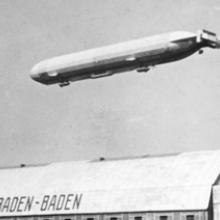 The Schwaben floats above its hangar at Baden-Baden 1911