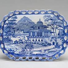 Chestnut basket, The Chalees Satoon in the Fort of Allahabad on the River Jumna pattern  c. 1810–30s