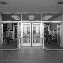 Automatic doors at entrance to San Francisco International Airport terminal building  1959