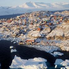 Town of Uummannaq, Greenland, in October  2009