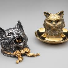 Cat head inkwells  19th century