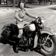 """First Lady of Motorcycling"" Dorothy ""Dot"" Robinson on her 1937 Harley-Davidson '45 1937"