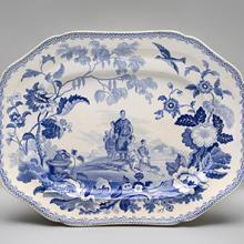Platter, Mandarin Opaque China pattern  c. 1810–30s