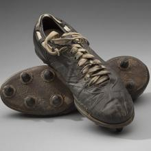Cleats worn by New York Giants linebacker Sam Huff during the 1956 National Football League season