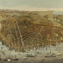 The City of San Francisco: Birds Eye View from the Bay Looking South-West 1878