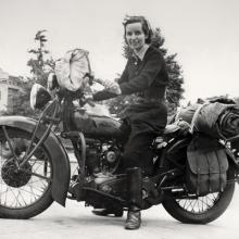 Linda Dugeau, co-founder of the Motor Maids, on her 1937 Indian Junior Scout  1937