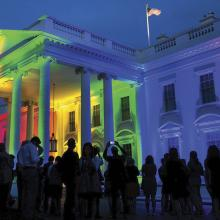 The White House illuminated in celebration of the Supreme Court ruling legalizing same-sex marriage in the United States