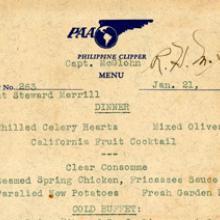 Pan American Airways in-flight menu 1939