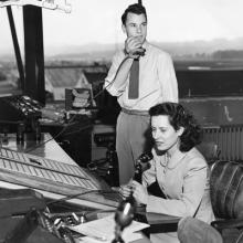 Maxine Crookston (Schmidt) in the San Francisco Airport control tower late 1940s